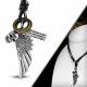 Kožený náhrdelník Lebka ,Křídlo CTH540T