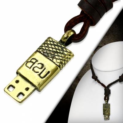 Kožený náhrdelník USB CTH446T